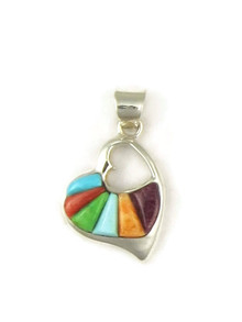 Multi Gemstone Inlay Heart Pendant (PD4769)