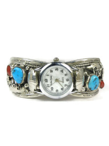 Turquoise & Coral Watch Cuff Bracelet by Freddie James (WTH692)