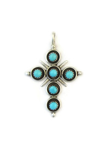 Turquoise Cross Pendant by Zuni, Terry Dishta