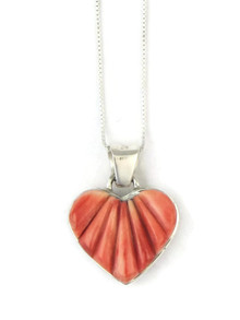 Reversible Spiny Oyster Shell Heart Pendant by Calvin Begay