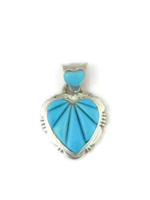 Sculpted Inlay Turquoise Heart Pendant