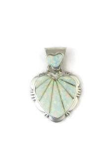 Sculpted Opal Inlay Heart Pendant