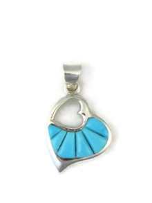 Turquoise Inlay Open Heart Pendant