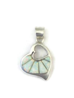 Sculpted Inlay Opal Open Heart Pendant