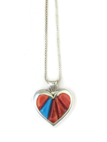Spiny Oyster Shell & Turquoise Sculpted Inlay Heart Pendant