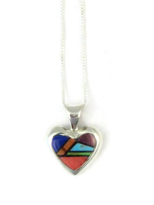 Small Multi Gemstone Inlay Heart Pendant