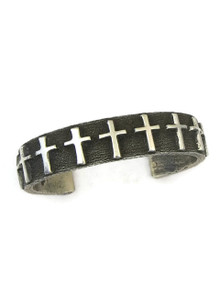 Silver Tufa Cast Cross Bracelet by Ernest Rangel