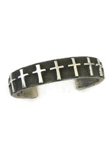 Silver Tufa Cast Cross Bracelet by Ernest Rangel