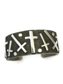 Silver Tufa Cast Cross Cuff Bracelet by Ernest Rangel