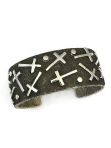 Silver Tufa Cast Mixed Cross Cuff Bracelet by Ernest Rangel