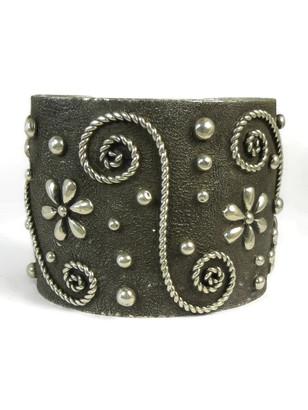 Silver Tufa Cast Wide Silver Cuff Bracelet by Ernest Rangel