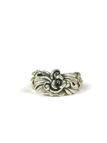 Silver Floral Ring Size 7 by Les Baker Jewelry