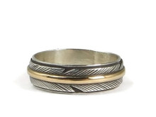 12k Gold & Sterling Silver Feather Band Ring Size 5 by Lena Platero