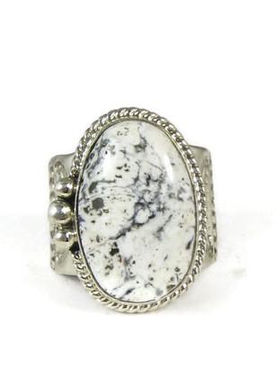 White Buffalo Gem Ring Size 12 by John Nelson