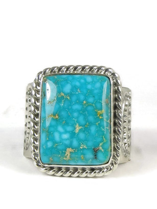 Water Web Kingman Turquoise Ring Size 13 1/2 by Joe Piaso, Jr.