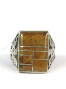 Jasper Inlay Thunderbird Ring Size 12 1/2