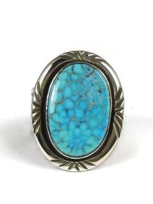 Webbed Kingman Turquoise Ring Size 10  by Fritson Toledo