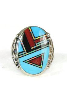 Turquoise, Coral,  Jet & Opal Inlay Ring Size 10 1/2
