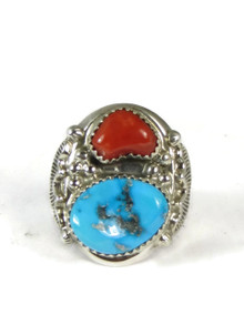 Turquoise & Coral Ring Size 10