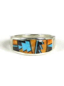 Spiny Oyster Shell, Turquoise & Jet Inlay Ring Size 10