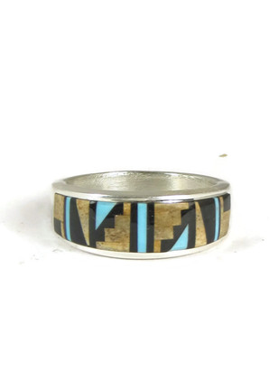 Jasper, Jet & Turquoise Inlay Ring Size 10 1/2