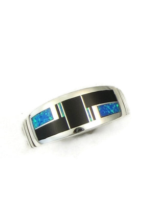 Jet & Blue Opal Inlay Ring Size 10 1/2