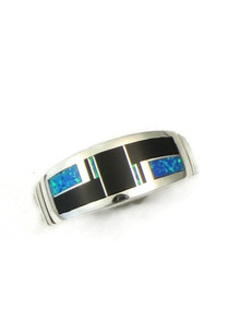 Jet & Blue Opal Inlay Ring Size 12