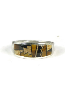 Tiger Eye, Jet & Jasper Geometric Inlay Ring Size 10 1/2
