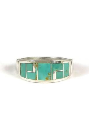Kingman Turquoise Inlay Ring Size 10 1/2