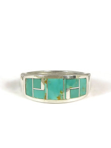 Kingman Turquoise Inlay Ring Size 10 1/2