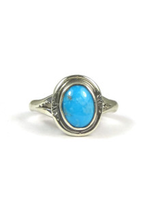 Small Turquoise Mountain Gem Ring Size 5 by Reda Guerro