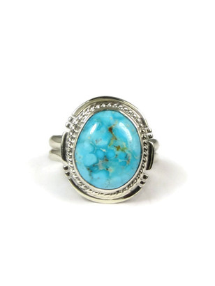 Kingman Turquoise Ring Size 6 by Navajo Larson Lee