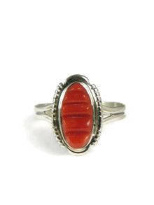 Sculpted Inlay Mediterranean Coral Ring Size 8 1/2
