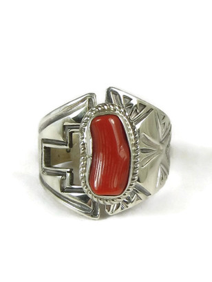 Mediterranean Coral Ring Size 8 Adjustable by Lena Platero
