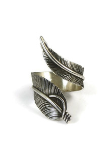 Sterling Silver Wide Feather Wrap Ring Size 9 Adjustable by Lena Platero
