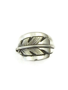 Silver Feather Ring Size 9 by Lena Platero
