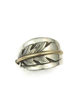 12k Gold & Sterling Silver Feather Ring Size 8 1/2 by Lena Platero (RG4379-S8.5)