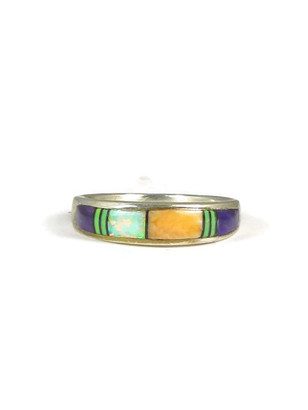 Multi Gemstone Inlay Ring Size 9