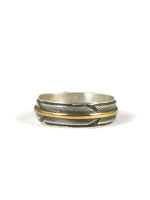 12k Gold & Silver Feather Band Ring Size 10 1/2 by Lena Platero