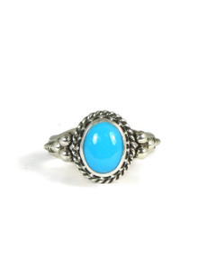 Sleeping Beauty Turquoise Silver Gallery Wire Ring Size 8