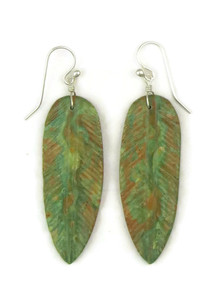 Turquoise Feather Slab Earrings by Ronald Chavez (ER4447)