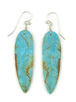 Turquoise Feather Slab Earrings by Ronald Chavez (ER4448)