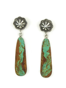 Sterling Silver Concho Post Turquoise Slab Earrings by Ronald Chavez (ER4460)