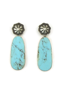 Sterling Silver Concho Post Turquoise Slab Earrings by Ronald Chavez (ER4462)