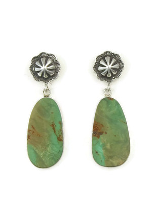 Sterling Silver Concho Post Turquoise Slab Earrings by Ronald Chavez (ER4464)