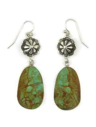 Sterling Silver Concho Turquoise Slab Earrings by Ronald Chavez