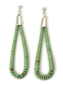 Turquoise Heishi Loop Earrings by Ronald Chavez
