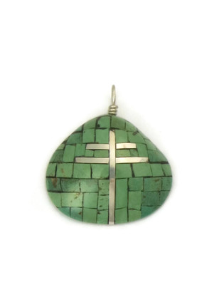Turquoise Inlay Clam Shell Pendant with Silver Cross