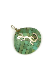 Turquoise Inlay Clam Shell Pendant with Silver Lizard