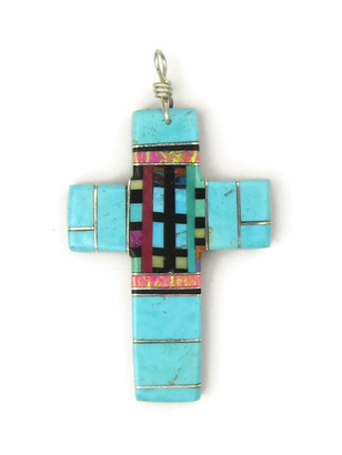 Mosaic Inlay Turquoise Cross Pendant with Abalone